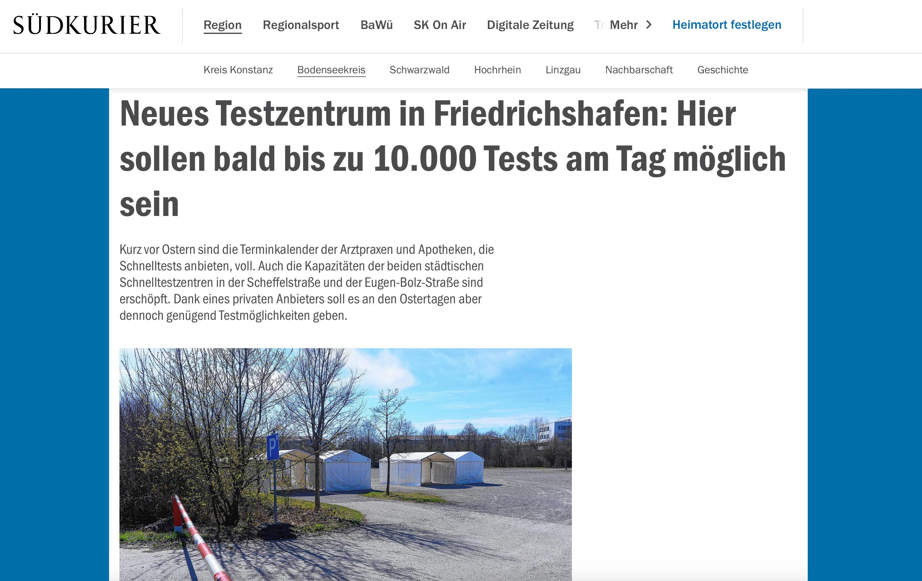 SODA Software im Schnelltestzentrum Friedrichshafen